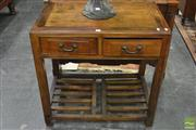 Sale 8345 - Lot 1018 - Chinese Elm Side Table or Desk, with two drawers & latticed base