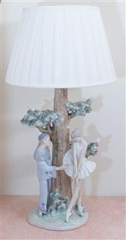 Sale 8430 - Lot 64 - A Lladró tree form table lamp with Pierrot and ballerina