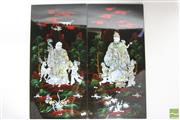 Sale 8490 - Lot 314 - Set Four Chinese Lacquer & MOP Inlaid Panels with Immortals & Characters