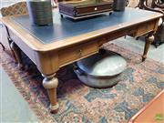 Sale 8576 - Lot 1085 - Victorian Style Fruitwood Desk, with tooled black leather top, three drawers & turned legs