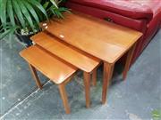 Sale 8601 - Lot 1420 - Nest of 3 Teak tables