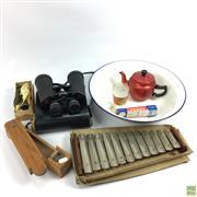 Sale 8648A - Lot 96 - Enamel Wash Basin with Vintage Home Wares & Binoculars