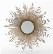 Sale 8651A - Lot 92 - A metal sunburst style mirror, with distressed gilt highlights, diameter 75cm