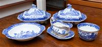 Sale 8735 - Lot 28 - A small quantity of Staffordshire burleigh ware blue and white transfer printed table wares including two lidded tureens, bowl, grav...