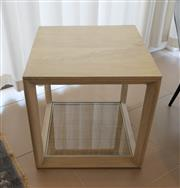 Sale 8858H - Lot 56 - Square Mango Wood Side Table and Bottom Base with Woven Cane and Glass, H 47 x W 45 x D 45 cm -