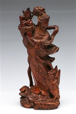 Sale 9173 - Lot 45 - A carved wooden Chinese figure of a lady (H 24cm, marked to base)