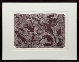 Sale 9212A - Lot 5079 - BARBARA BACKSTROM My Country linocut ed. 45/75 32 x 48 cm (frame: 58 x 74 x 4 cm, no glass) signed lower right