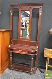 Sale 8398 - Lot 1011 - Timber Mirroredback Hall Stand Single Drawer
