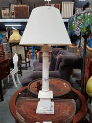 Sale 8688 - Lot 1092 - Marble Table Lamp with Shade