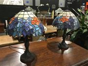 Sale 8795 - Lot 1043 - Pair of Leadlight Shade Table Lamps