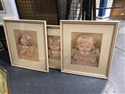 Sale 8797 - Lot 2047 - Vivien Kubbos (3 works) Toddler Portraits charcoal, pastel and body colour on paper, each 45.5 x 39.5cm (frames) and signed