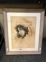 Sale 8865 - Lot 2021 - Artist Unknown - A Portrait of a Young Gypsy 43 x 35.5 (frame size)