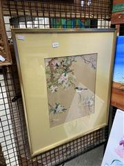 Sale 8927 - Lot 2036 - Chinese School - Robin and Cherry Blossoms gouache on silk -