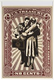 Sale 9081A - Lot 5069 - Obey - U.S Treasury, (More Militerry, Less Skools) 86 x 59.5 cm (frame: 94 x 64 x 2 cm)