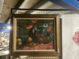 Sale 9111 - Lot 2050 - Margaret Norris The Ginger Jar acrylic on board, frame: 56 x 66 cm, signed