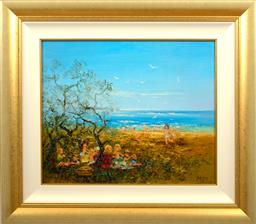 Sale 9150J - Lot 89 - DAVID BOYD (1924 - 2011) Kids at the Beach oil on canvas 49 x 60 cm signed lower left & dated 1979 lower right