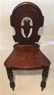 Sale 8516A - Lot 98 - A Victorian mahogany chair, gothic style accents, on turned legs. 90cm high x 45cm wide x 38cm deep