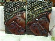 Sale 8545 - Lot 1040 - Pair of Buddha Face Plaques