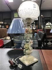 Sale 8777 - Lot 1007 - Italian Floral Form Table Lamp with Glass Ball Shade