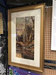 Sale 8789 - Lot 2106 - J Fox - Figure Walking through the Woods, oil, 85.5 x 55cm