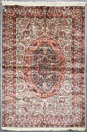 Sale 8988 - Lot 1011 - Hand Knotted Kashmiri Silk Rug (190 x 130cm)