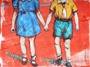 Sale 9034A - Lot 5084 - David Bromley (1960 - ) - Holding Hands 21 x 27.5 cm (frame: 51 x 56 cm)
