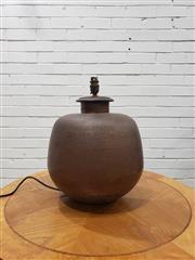 Sale 9056 - Lot 1056 - Beaten Copper Bulbous Table Lamp (H:42 x D28cm)