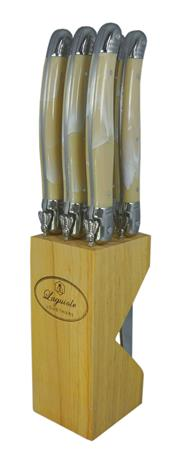 Sale 9080K - Lot 14 - Laguiole by Louis Thiers Luxe 6-Piece Steak Knife Set - marbled ivory colour in timber block