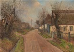 Sale 9125 - Lot 571 - Reinholdt Nielsen (1891 - 1984) Village Landscape oil on canvas 73.5 x 103.5 cm (frame 92 x 121 x 6 cm) signed lower right