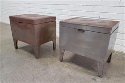 Sale 9137 - Lot 1070 - Pair of metal lift top trunks (h:48 x w:51 x d:38cm)