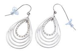 Sale 9149 - Lot 364 - A PAIR OF STERLING SILVER DROP EARRINGS; each a 5 framed pendulous drop, smallest set with 16 single cut diamonds on shepherds hook...
