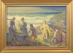Sale 9150J - Lot 13 - ARTHUR MURCH (1902 - 1989) At the Seaside oil on board 33 x 50 cm signed lower left