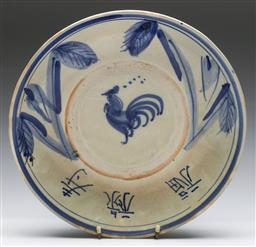 Sale 9173 - Lot 60 - A Chinese Blue and white potted charger with rooster motif (Dia 32cm)