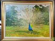 Sale 8474 - Lot 2035 - Artist Unknown (XX) - Peacock 75 x 101cm