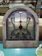 Sale 8532 - Lot 1015 - Timber Framed Arch Top Leadlight Window