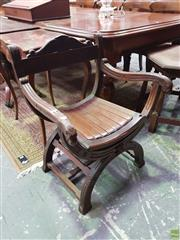 Sale 8634 - Lot 1047 - Savonarola Style Chair of Eastern Origin, possibly rosewood or jichimu, with slatted seat & stretcher base