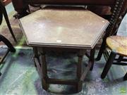 Sale 8634 - Lot 1046 - Hexagonal Oak Occasional Table, with turned legs & stretcher base