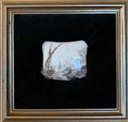 Sale 8510A - Lot 6 - A French porcelain plaque in velvet cushion frame, frame size 18cm x 20cm