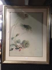 Sale 8767 - Lot 2078 - 2 Works: Oriental Painting of Butterfly & Flowers on Textile, Plus Oriental Picture of Ducks
