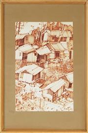 Sale 8789 - Lot 2041 - Artist Unknown - Shacks 33.5 x 22.5cm