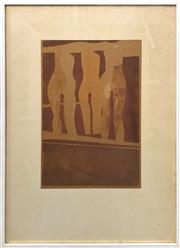 Sale 8924 - Lot 2009A - Artist Unknown Three Nudes linocut, 78 x 56.5cm (frame), signed