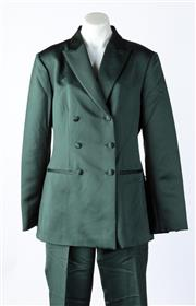Sale 9003F - Lot 55 - A Richard Tyler suit comprising a double breasted blazer and pants in green Satin, size 12