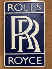Sale 9026 - Lot 1009 - Cat Iron Rolls Royce Sign (h:29 x w:18cm)