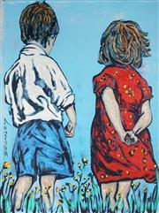 Sale 9034A - Lot 5090 - David Bromley (1960 - ) - Two Children 28 x 21.5 cm (67 x 53 x 3 cm)