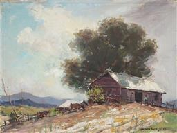 Sale 9067 - Lot 557 - James R Jackson (1882 - 1975) - The Dairy Shed 29.5 x 39.5 (frame: 57 x 66 x 4 cm)