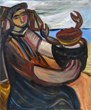 Sale 8358 - Lot 529 - Sarah Faulkner (1959 - ) - Woman with Crab, 1993 121.5 x 101cm