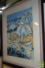 Sale 8509 - Lot 2028 - Jo Corole French Riviera, gouache on paper, 97 x 79cm, signed lower right