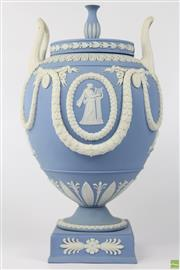 Sale 8604W - Lot 34 - Wedgwood Jasperware Large Pale Blue Twin Handled Urn (H:32cm)