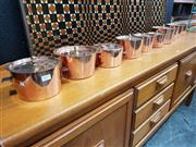 Sale 8801 - Lot 1019 - Nice lot of 10 Assorted Copper Pans and Lids