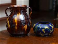 Sale 8735 - Lot 32 - A McHugh (Tasmania) studio pottery two handled drip glaze vase, together with another blue and yellow posy bowl Height of tallest 22cm